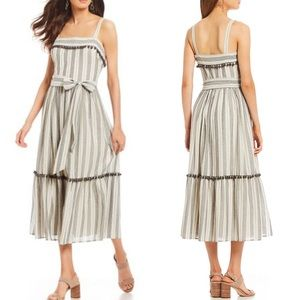 Maggy London Striped Flounce Pom Pom Midi Dress